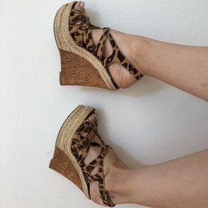 Boutique 9 leopard calf hair & jute wedges